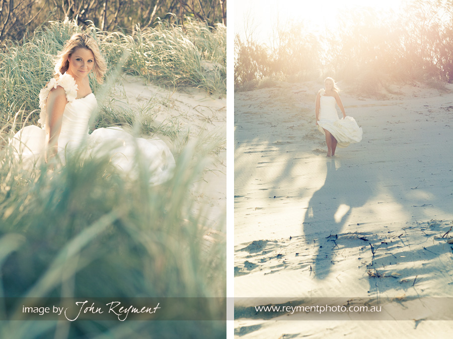 bride at beach, trash the dress