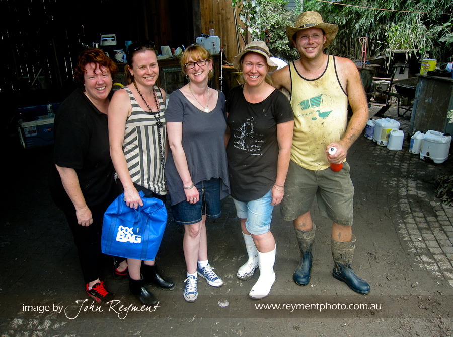 Foodie friends unite in Sal's carport to help do what is needed to clean up her home after the Queensland floods