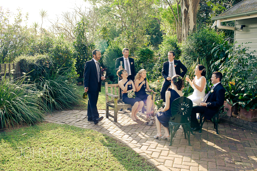 bridal party relaxing at Chelmer, Brisbane wedding photographer John Reyment