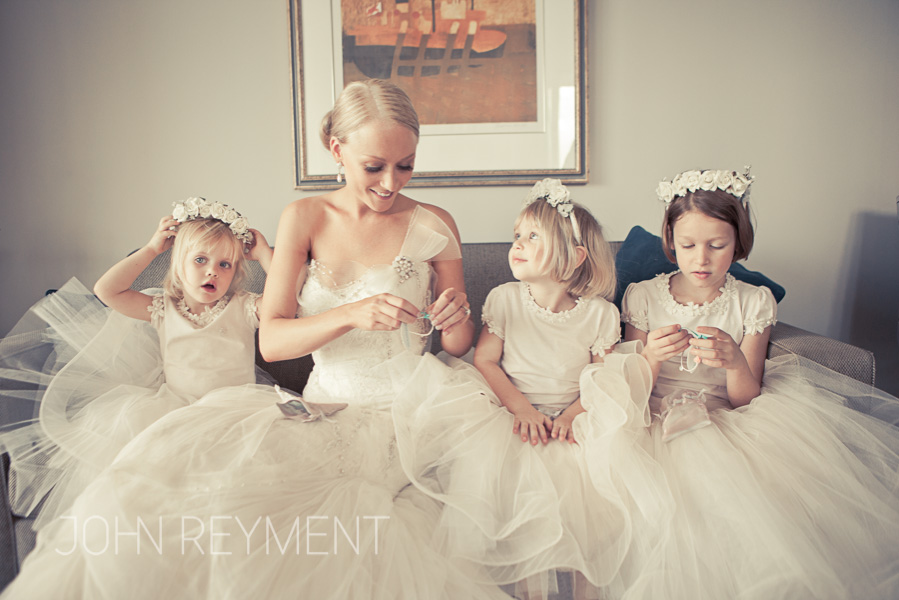 Bride and flower girls at Quay West Hotel by Brisbane wedding photographer John Reyment