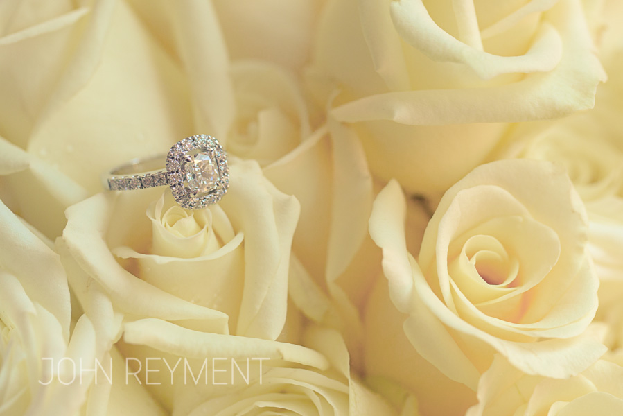 Canturi diamond engagement ring and flowers