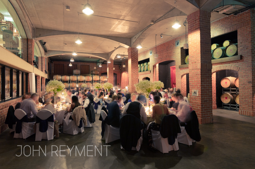 The Barrel Hall, Sirromet wedding reception photography John Reyment